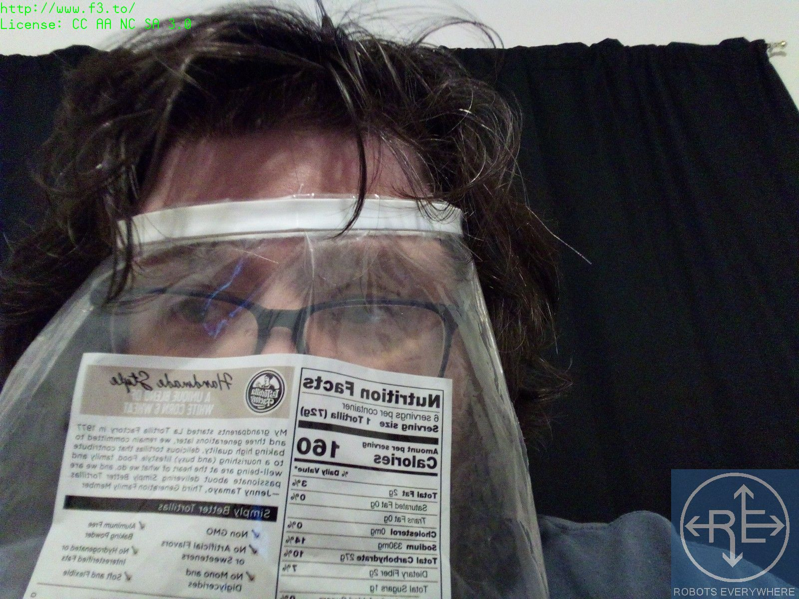 Matteo Borri, Founder of Robots Everywhere in a Bread Bag Face Shield